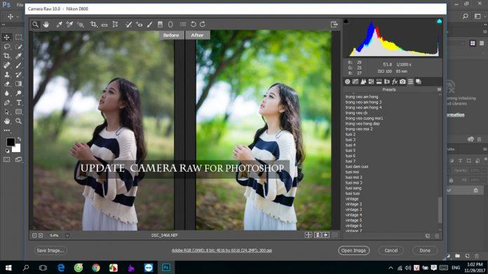 Tải camera raw phiên bản mới nhất cho photoshop cc