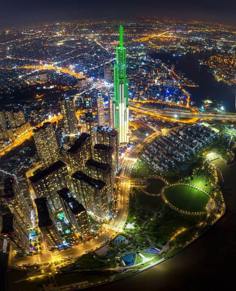 Hình ảnh toàn ảnh toà nhà landmark 81 từ trên cao
