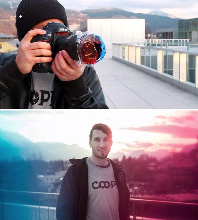 Dùng các miếng nilon màu để tạo nên màu sắc cho bức ảnh