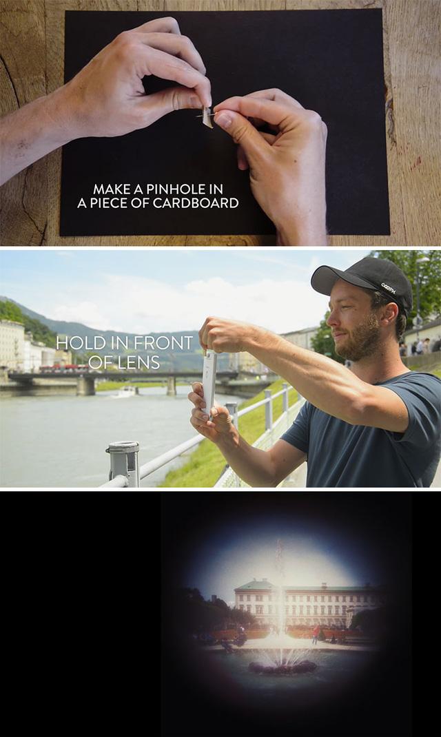 Lấy kim đục một lỗ nhỏ rồi đặt trước camera là bạn sẽ có ngay một bức ảnh như ống nhòm