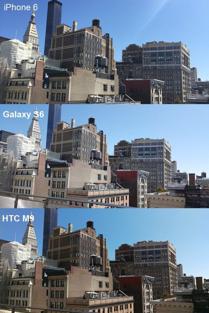 Bức ảnh chụp toàn cảnh tòa nhà dưới điều kiện ánh sáng đủ cho thấy cả 3 chiếc điện thoại đều cho hình ảnh vô cùng sắc nét.