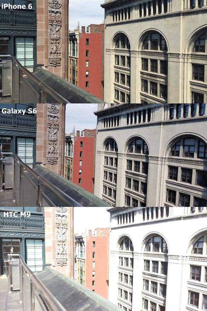 Bức ảnh chụp bằng Galaxy S6 có màu sắc sáng hơn hai loại điện thoại còn lại.