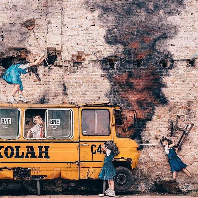 Từ một cái tường cũ kĩ tạo nên một tác phẩm tuyệt vời