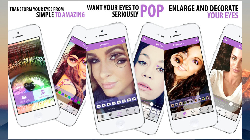 Selfies Eye Colour and Face Makeover