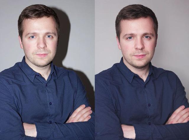 """Sự khác biệt giữa ảnh chụp dùng flash """"cóc"""" thông thường (trái) và ảnh chụp có tản sáng qua bóng bay (phải)"""