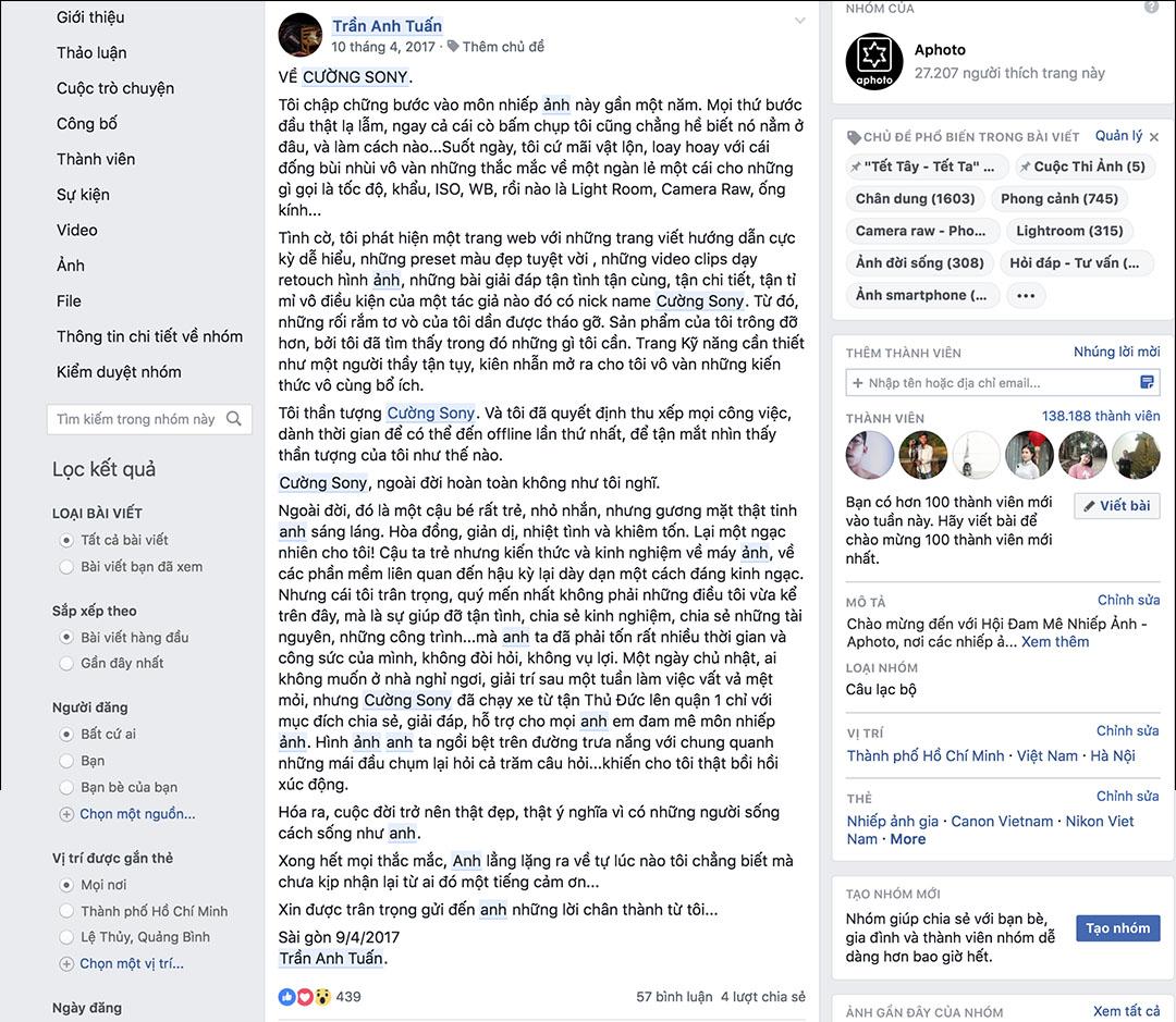 Một bài viết tâm sự của 1 thành viên trong groups về Cường Sony sau khi đi offline buổi đầu tiên của nhóm Aphoto