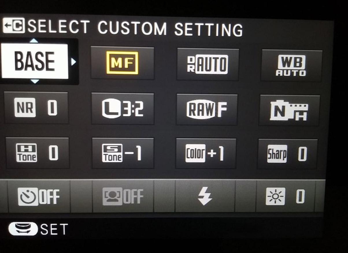 Màn hình setting máy Fujifilm